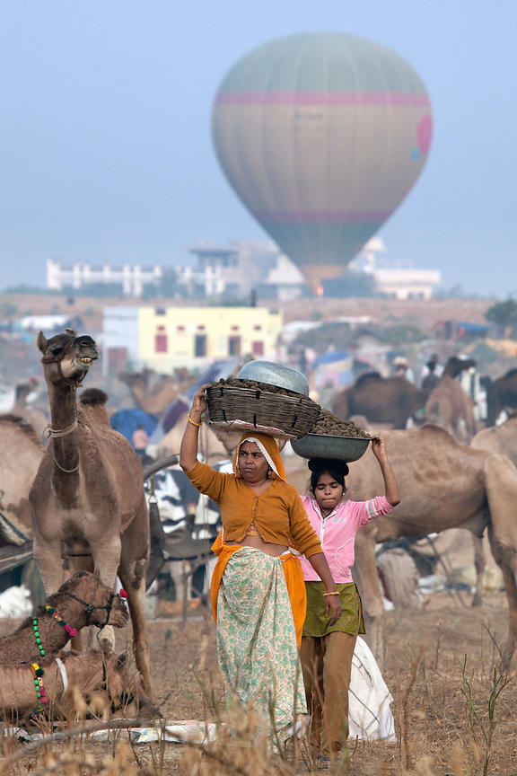 Hot air balloons and camels at the 2010 Pushkar Camel Fair, Rajasthan, India