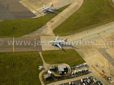 Aerial view of Planes at Heathrow airport