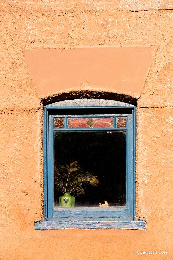 WINDOW VASE PEACOCK FEATHERS ADOBE WALL SANTA FE NEW MEXICO COLOR