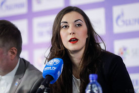 Simona Margetic during the Final Tournament - Final Four - SEHA - Gazprom league, Closing Press Conference, Belarus, 09.04.20...