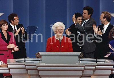 First Lady Barbara Bush speaks at the Republican National Convention and her grandson, George P. Bush, speaks also..19 August...