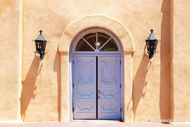 DOOR SAN FELIPE DE NERI CHURCH HISTORIC OLD TOWN ALBUQUERQUE NEW MEXICO