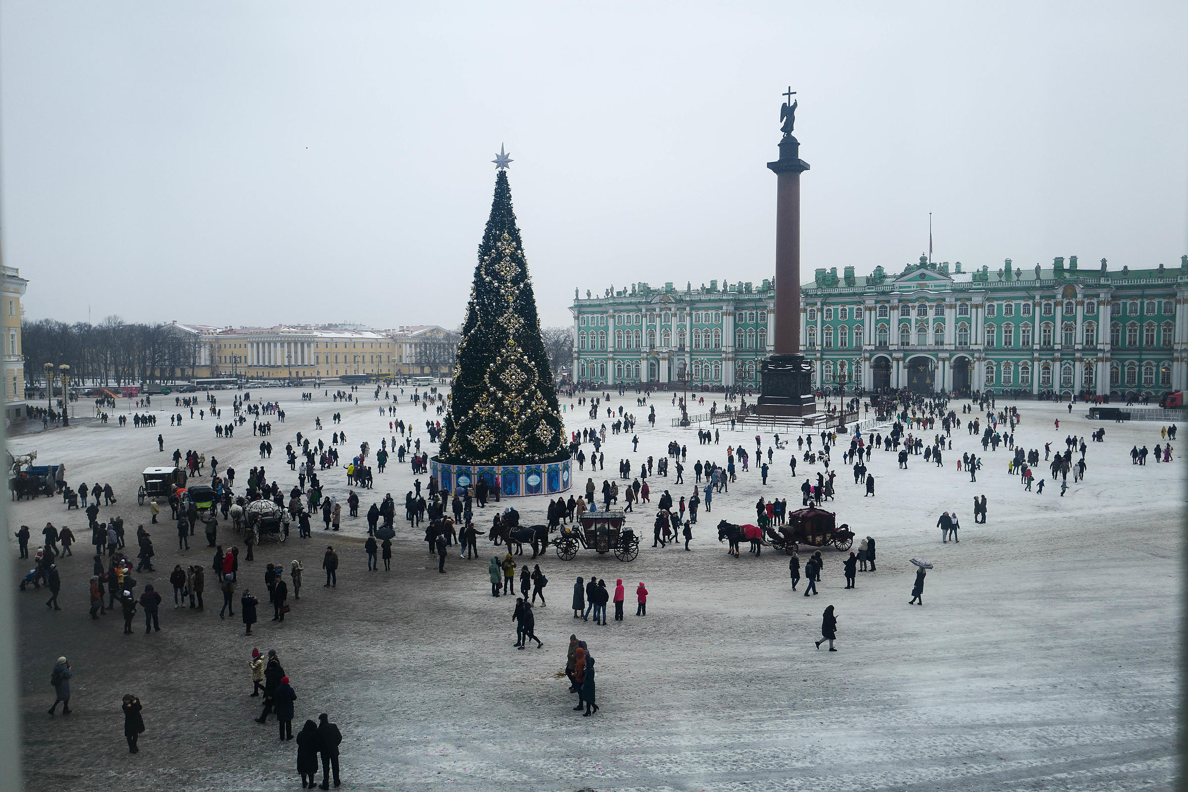 View from a window in The Hermitage looking at the Winter Palace, St Petersburg
