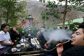 North of Tehran, Iranain youth have to go outside the capital Teheran to relax and enjoy their leasure. Smoking water-pipe is...