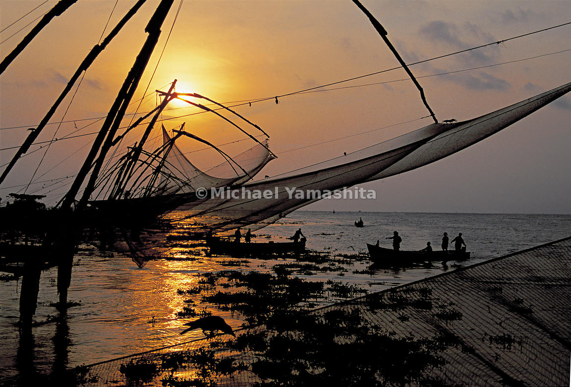 Fishermen go out for their nightly trip in India.
