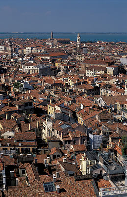 Rooftops of Venice, Italy. looking north from St Marks.
