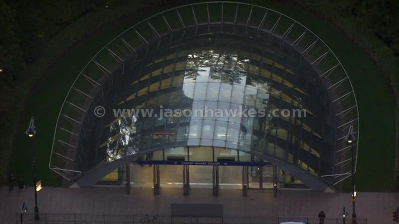 Aerial footage of Canary Wharf Tube Station, London