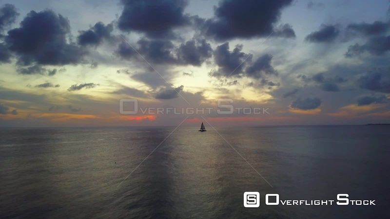 Catamaran On Caribbean Ocean at Sunset  Cayman Islands