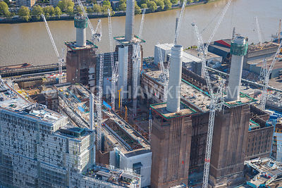 Aerial view of Circus West, Battersea Power Station , London.