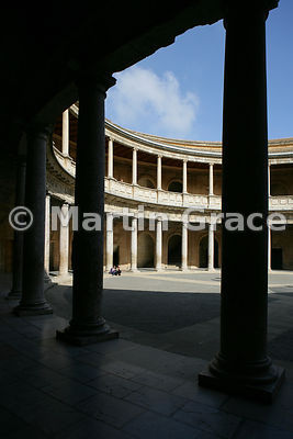 Interior of  the 16th century Palacio de Carlos V (Palace of Charles V), Alhambra, Granada, Andalusia, Spain