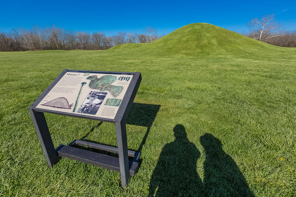 Visitors to the Mound City Group in Hopewell Culture National Historical Park