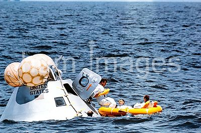 5 Aug. 1968- The prime crew of the first manned Apollo mission (Spacecraft 101Saturn 205) participates in water egress traini...