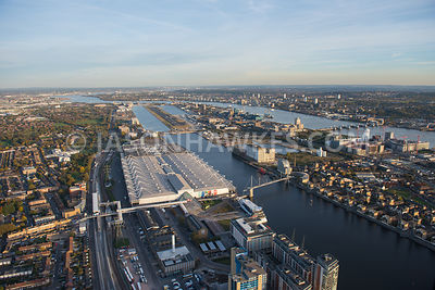 Aerial view, Royal Victoria Dock, ExCeL London, London City Airport, Pontoon Dock, Royal Albert Dock, London.