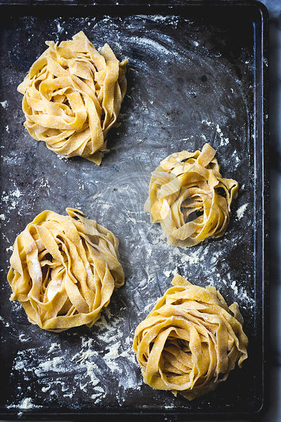 Fresh pasta on a baking tray