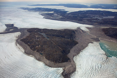 Aerial view of the Sermeq Kujalleq Glacier or Jakobshavn Isbrae, entering the sea, near  Ilulissat Icefjord UNESCO World Heri...