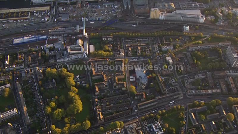 Aerial footage of Poplar and Canary Wharf, London