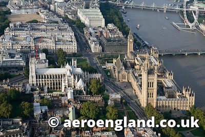 aerial photograph of the houses of Parliament Westminster London UK