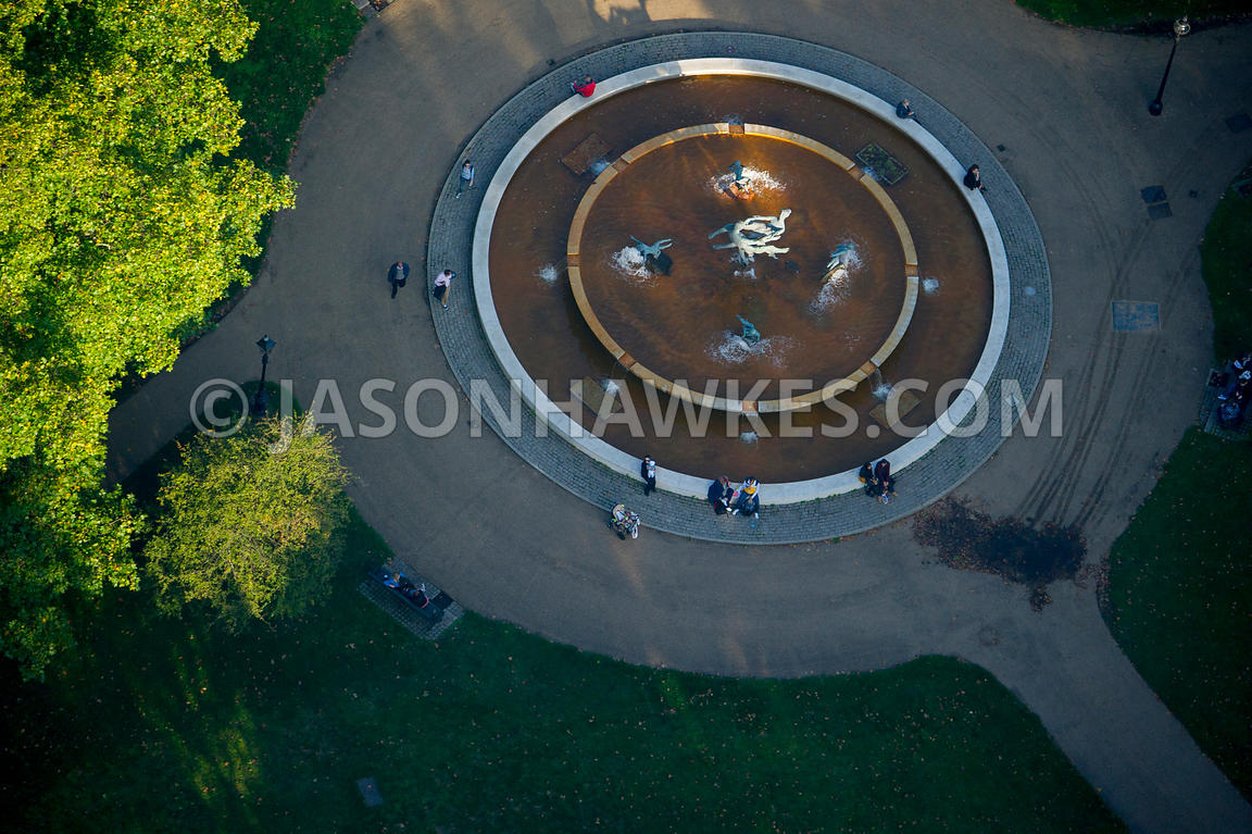 Aerial view of The Joy of Life Fountain, Hyde Park, London