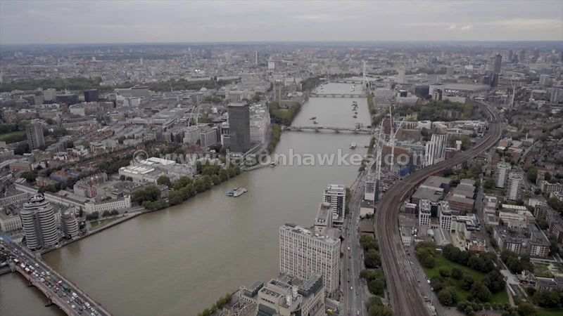 Aerial footage of the River Thames between Westminster and Lambeth