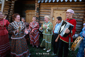 Follk musicians playing accordian, Siberia, Russia