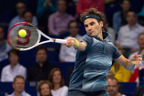 basel: atp 500 Swiss indoor tennis match Federer vs Istomin