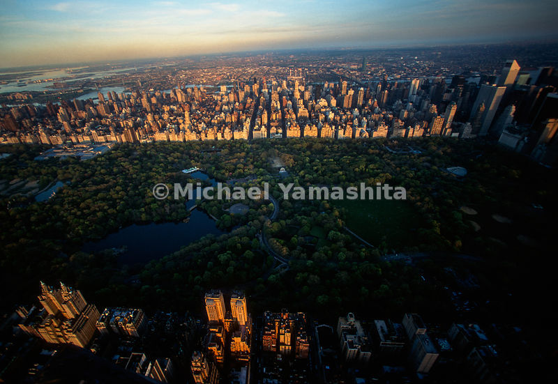 Aerial of Manhattan.Uptown/Central Park.New York City, NY