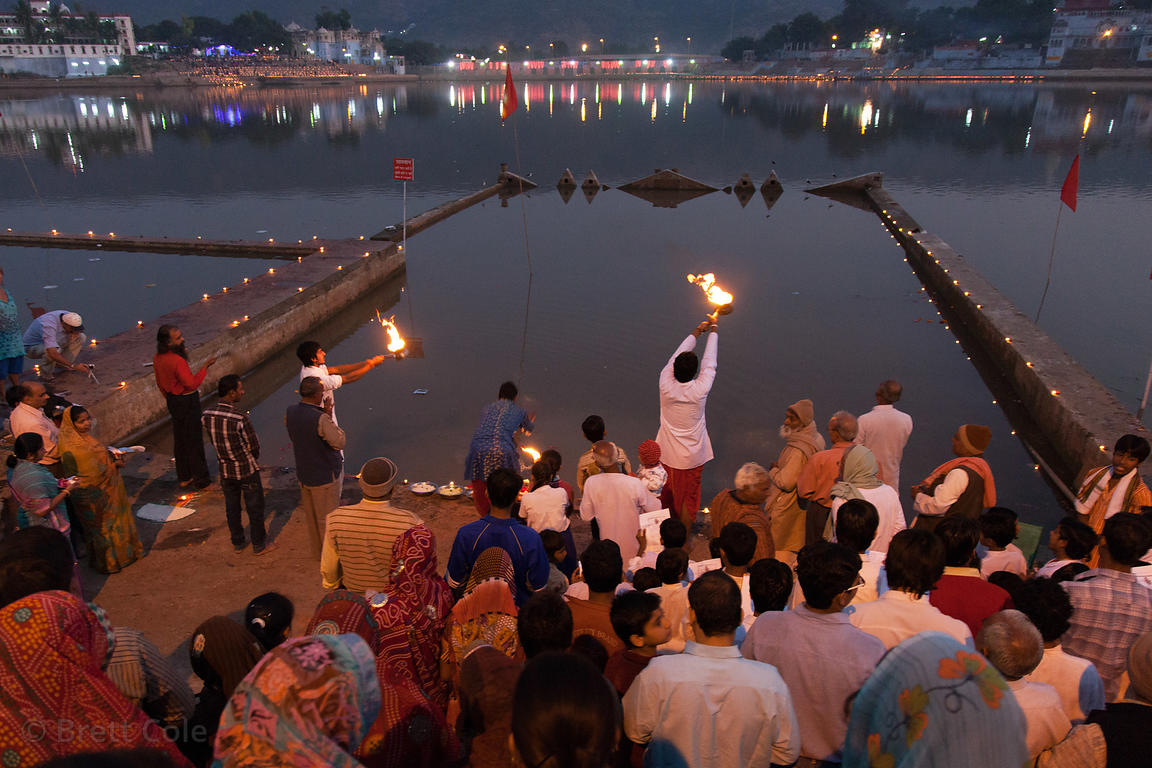 Aarti and Deepdan on the ghats of Pushkar, India on Kartik Purnima
