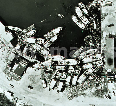 Grounded boats in Texas after Hurricane Celia, 1970