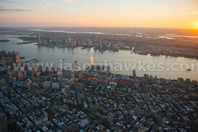 Aerial view looking from Lower Manhattan across the Hudson River to Jersey City