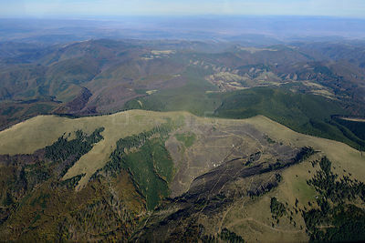 Aerial view of deforestation in the ?ureanu Mountains.  Carpathians, Romania. October 2014.
