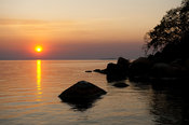 Sunset over lake Malawi, Mumbo island, Lake Malawi National Park, Malawi