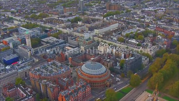 Aerial footage of South Kensington, London