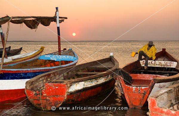 Mozambique, Beira, fishing boats at sunset.