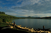 fishing boats on the shore of Lake Nyabihoko, near Nytungamo, Uganda