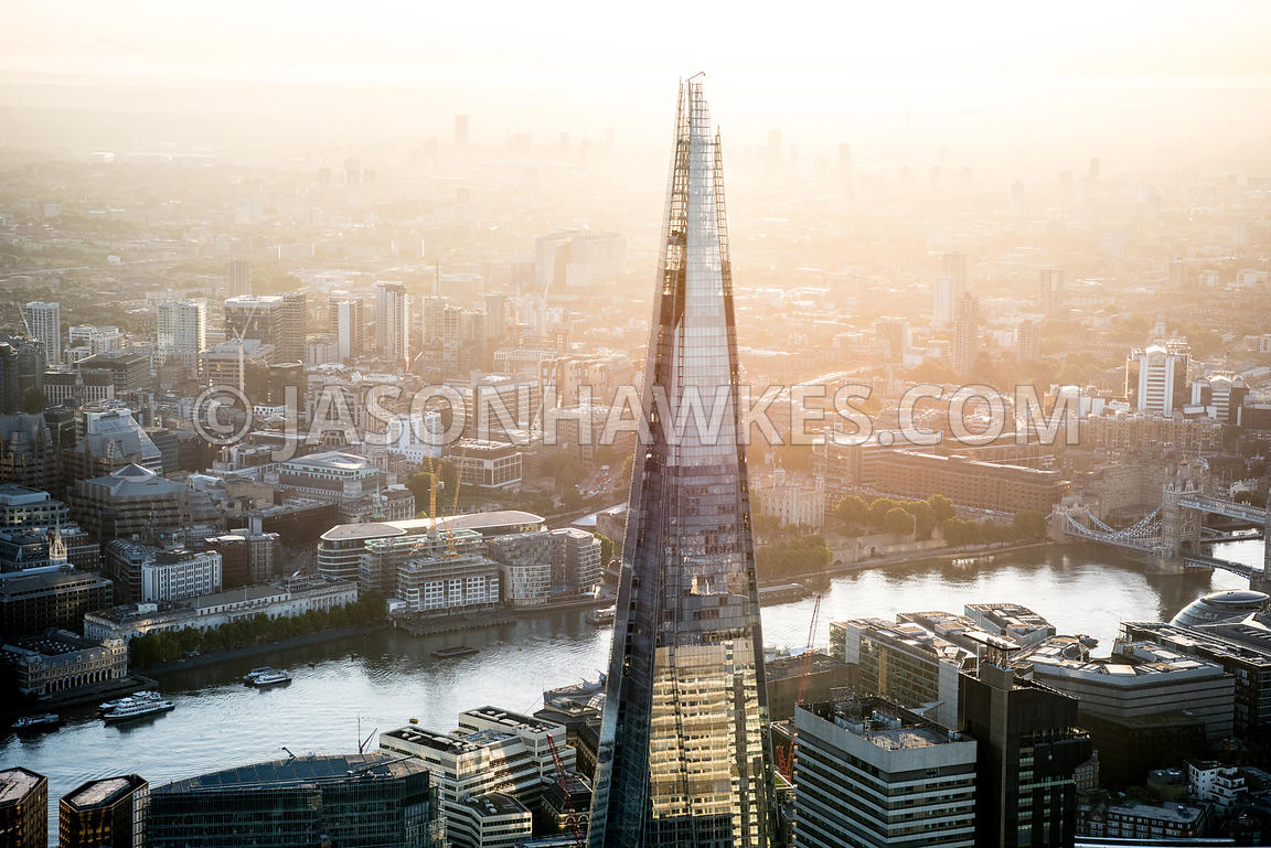 Aerial view of the Shard at dawn, London.  Sunrise.