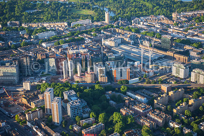 Aerial view of London Paddington Station towards Lancaster Gate and Hyde Park.