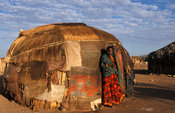 Gabbra woman at her homestead, Kalacha village at the edge of the Chalbi desert, Kenya
