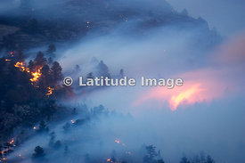 Smoke And Flame From a Wildland Fire, Rocky Mountains, Colorado