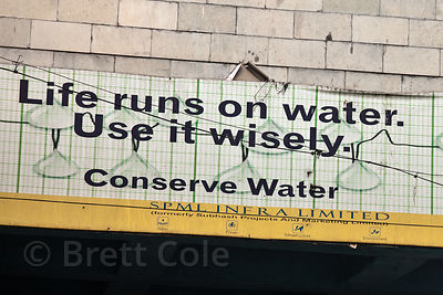 Sign imploring Indians to use water wisely, Delhi, India