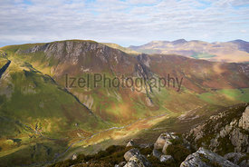 Views of the summit of Hindscarth and Newlands Beck from the summit of High Spy in the Lake District, England, UK.