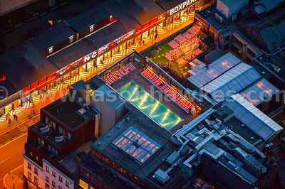 Aerial view of Shoreditch House at night, London