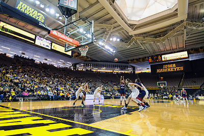 Robert Morris' Jocelynne Jones (1) shoots a free throw against Iowa during the first half of play at Carver-Hawkeye Arena in ...
