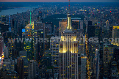 Aerial view of the iconic Empire State Building, Manhattan, New York City at night