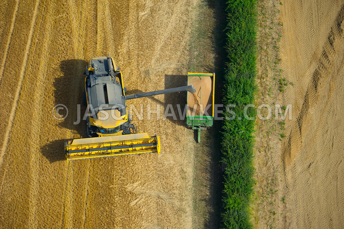 Aerial view of combine harvester, farming