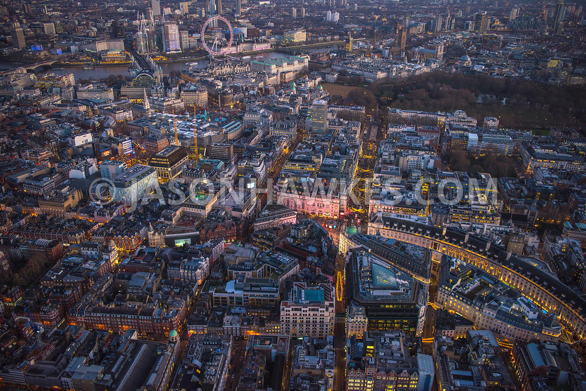 Aerial view of Soho towards Leicester Square and Trafalgar Square.