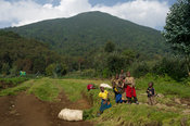 Children in the village at the base of Mount Bisoke, Volcanoes National Park, Rwanda
