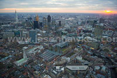 Aerial view of Spitalfields Market at dusk, London