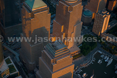 Close up aerial view of the World Financial Center in New York City