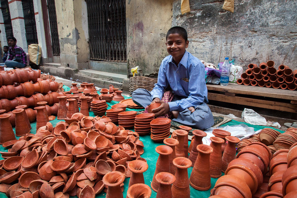 Hand-made ceramics for sale at a market in Shyambazar, Kollkata, India.