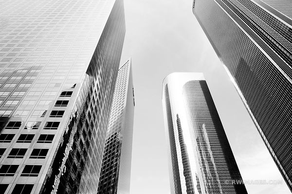 FINANCIAL DISTRICT DOWNTOWN LOS ANGELES BLACK AND WHITE HORIZONTAL